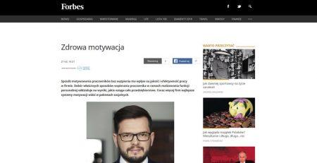 """Forbes """"Zdrowa motywacja"""" - Bartłomiej Dawidczyk"""